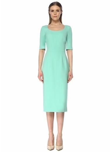 Dolce&Gabbana Dolce&Gabbana 101482353 Yuvarlak Yaka Arkası Fermuar Kapatmalı Yırtmaç Detaylı Su I Kadın Krep Elbise Yeşil